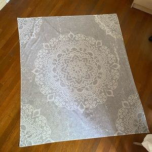 Gray and white printed Mandala tapestry